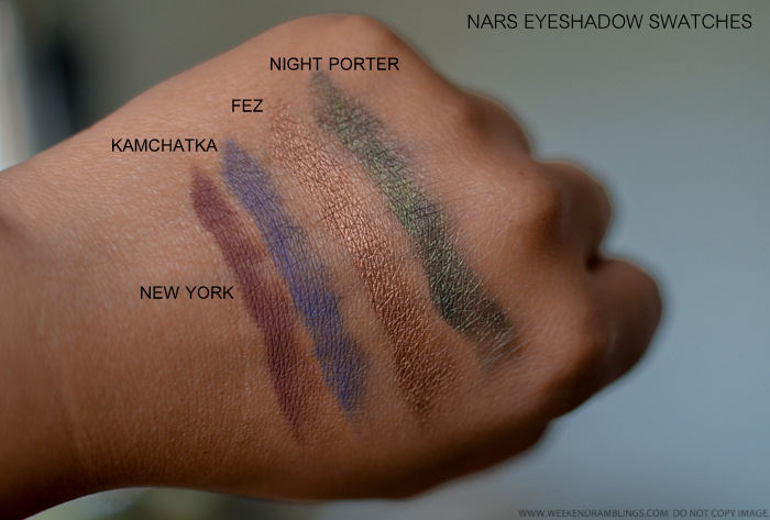 NARS Eyeshadows New York Kamchatka Fez Night Porter Swatches Indian Beauty Makeup Blog