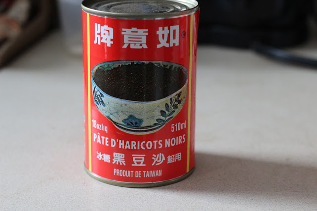 Sweetened black bean paste in a can