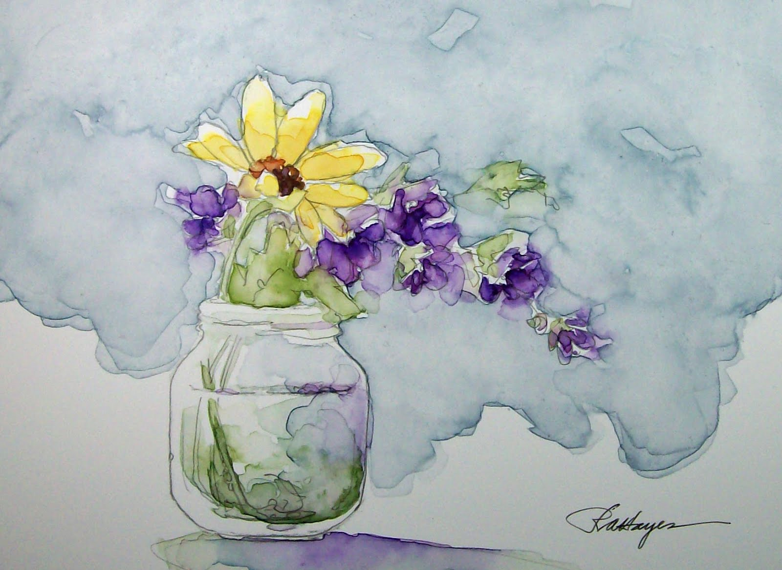 Watercolor paintings by roseann hayes march 2012 for Simple flower paintings for beginners