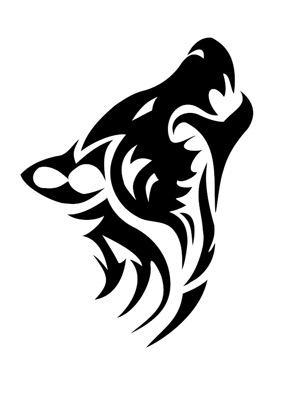 Wolf head tribal tattoo stencil 1 (click for full size) title=