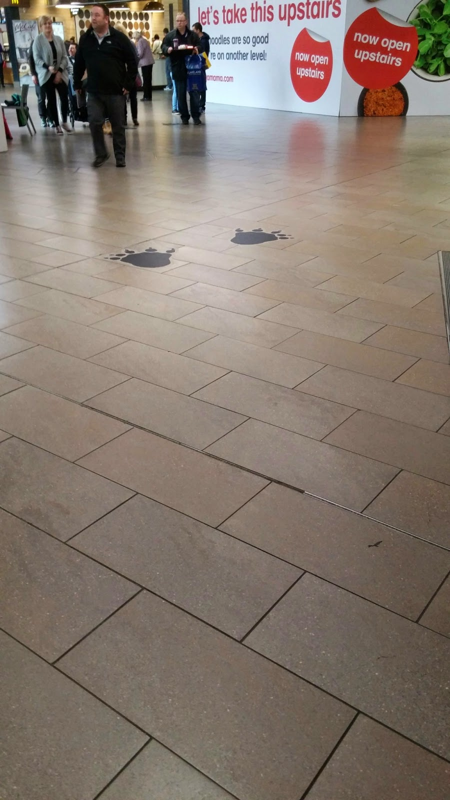 footprints in the shopping centre