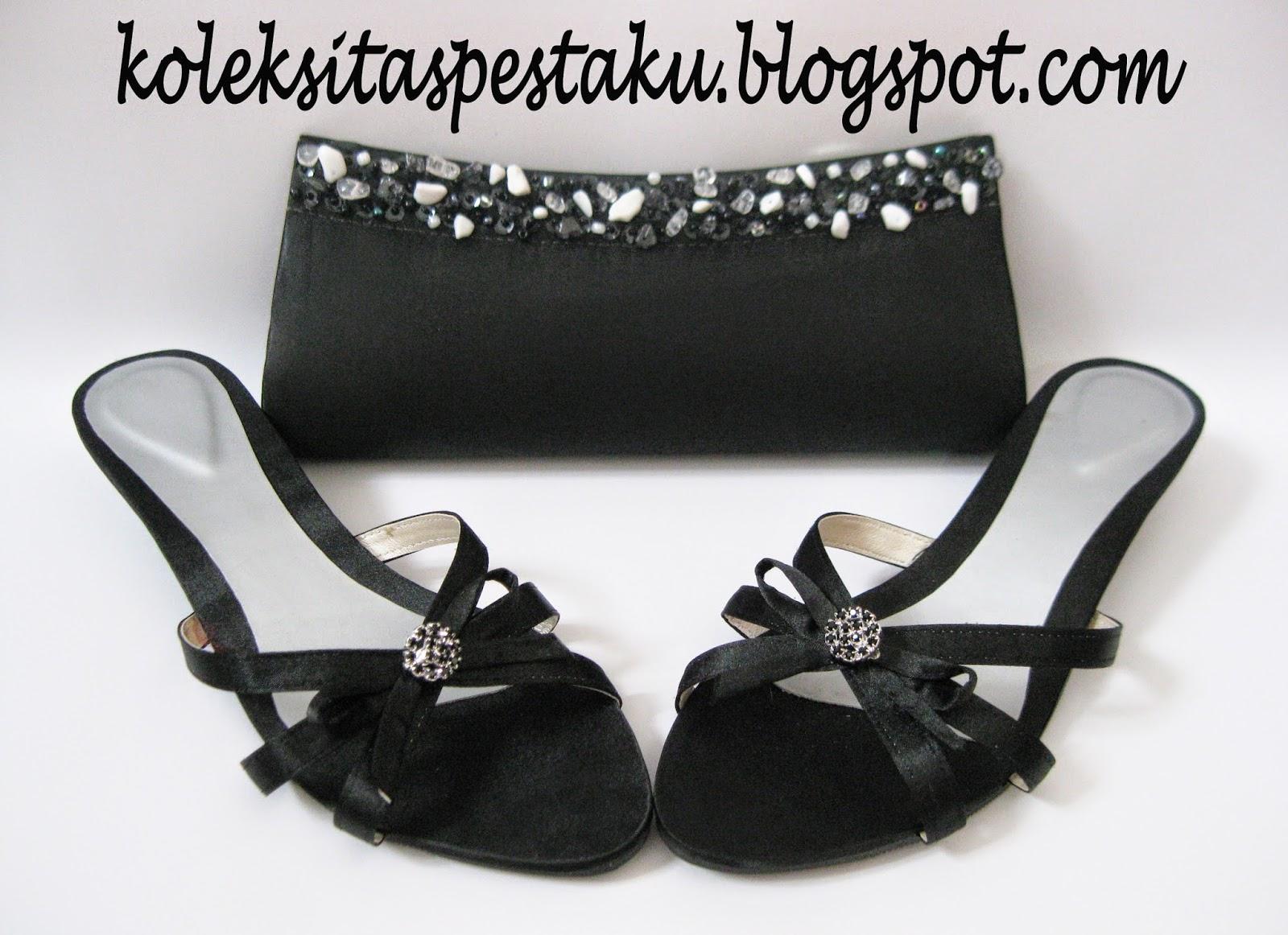 Payet U Tas Pesta Cantik dan Sandal Pesta Tinggi Hitam