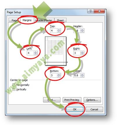 Gambar: Contoh Cara menentukan batas area pencetakan (margin kiri, margin atas, margin kanan dan margin bawah) di dokumen Microsoft Excel