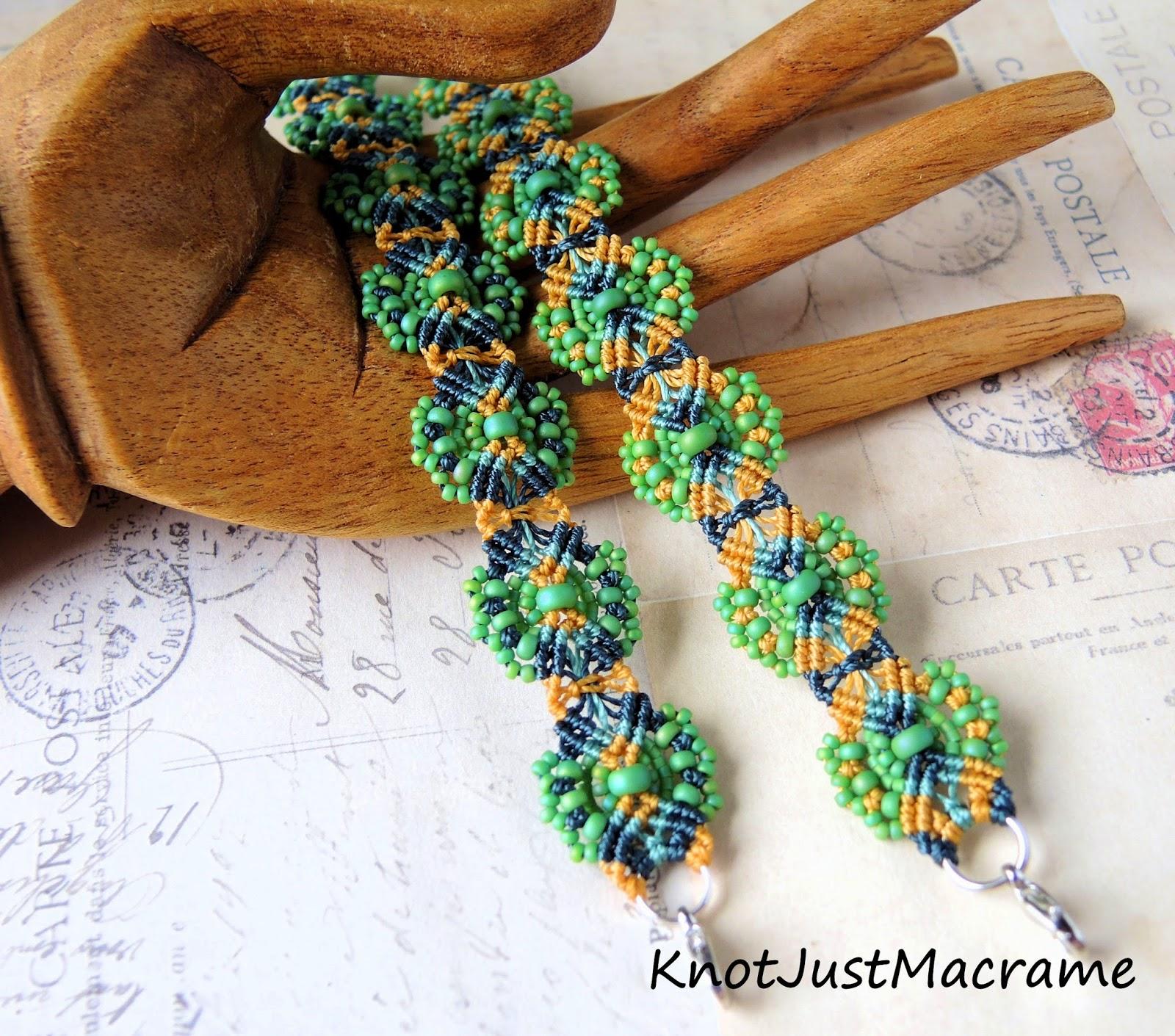 Knotted micro macrame bracelets by Sherri Stokey of Knot Just Macrame.