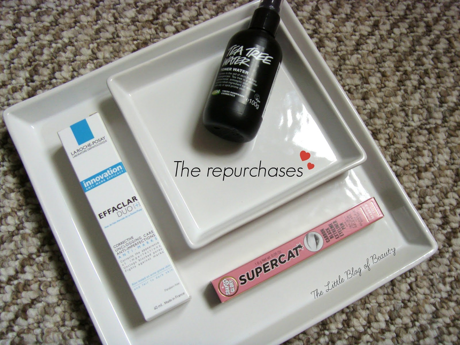 Lush Tea tree water, La Roche-Posay Effaclar Duo+ and Soap & Glory Supercat