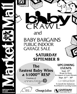baby crawl at market mall