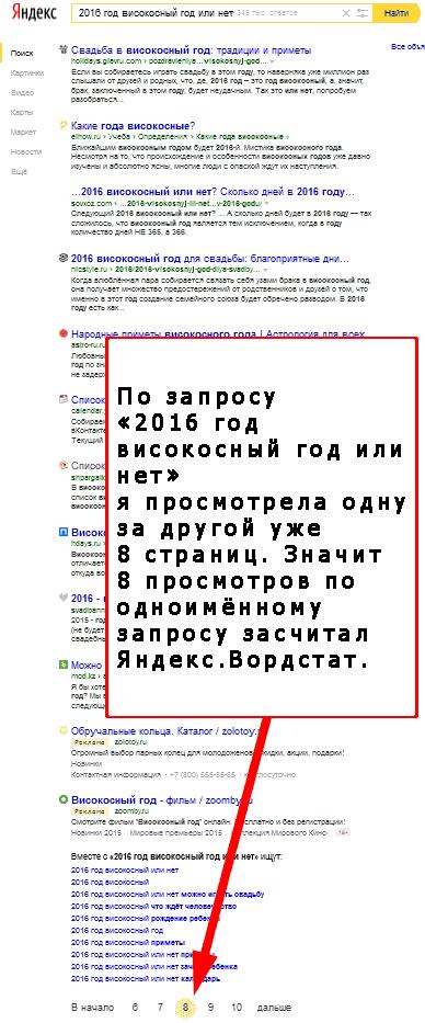Как подсчитывает Яндекс.Вордстат просмотры страниц пагинации