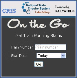 on the go train running status from mobile at onthego.trainenquiry.com