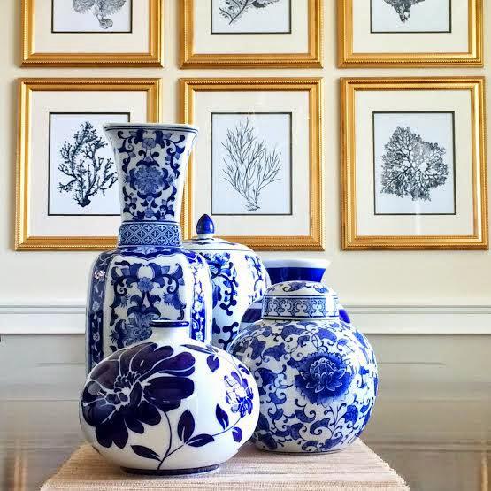 Navy and White Vases, Ginger Jars, Target, Pottery Barn
