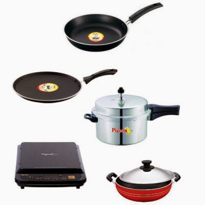 Snapdeal: Buy Pigeon Induction Cooker, Pressure Cooker And 3 Pcs Non-Stick Cookware Set Rs.3449