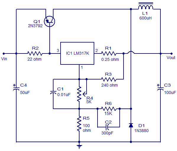 3a Switching Regulator Using Ic Lm317