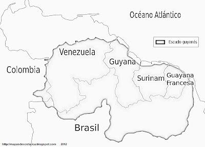 Mapa la Extensión del Escudo Guayanes, blanco y negro