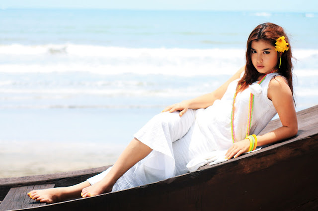 Myanmar Celeb Model Melody in the Beach