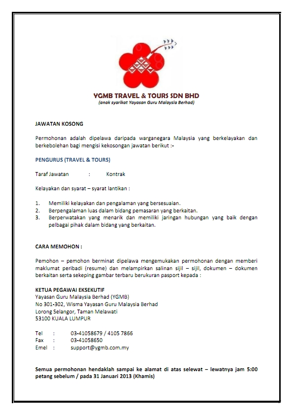 jawatan kosong Yayasan Guru Malaysia Berhad (YGMB)
