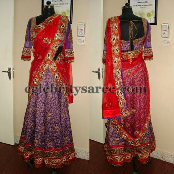 Purple Gold Sparkle Half Saree