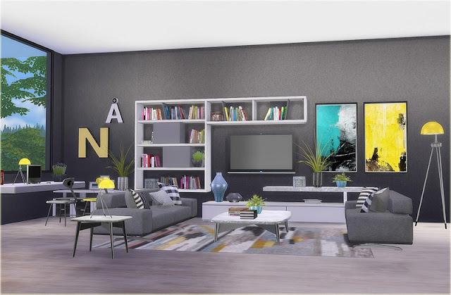 Download set de objetos sala de star color living the for Sala de estar the sims 4