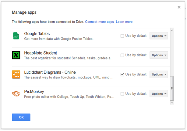 connected 3rd party google drive education apps