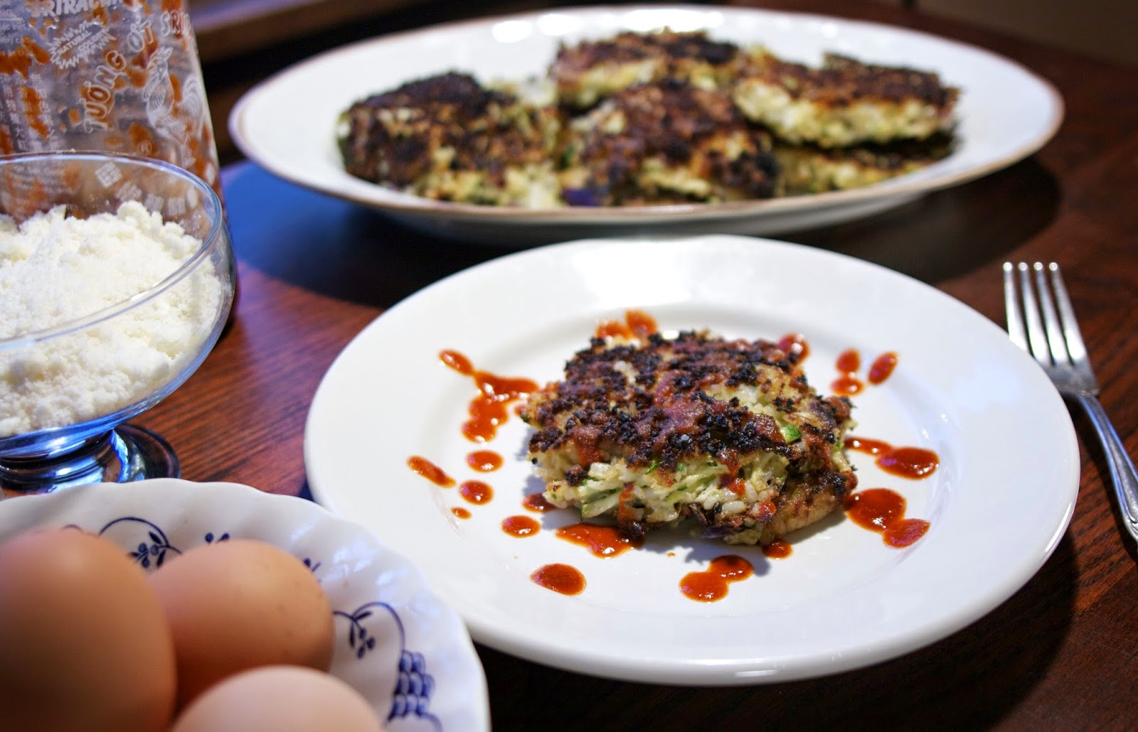Zucchini Fritters with Sriracha Sauce- simplelivingeating.com