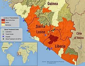 Sơ đồ vùng ảnh hưởng của dịch bệnh Ebola