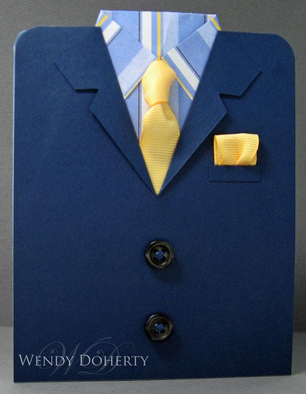 Открытка пиджак с галстуком поэтапно