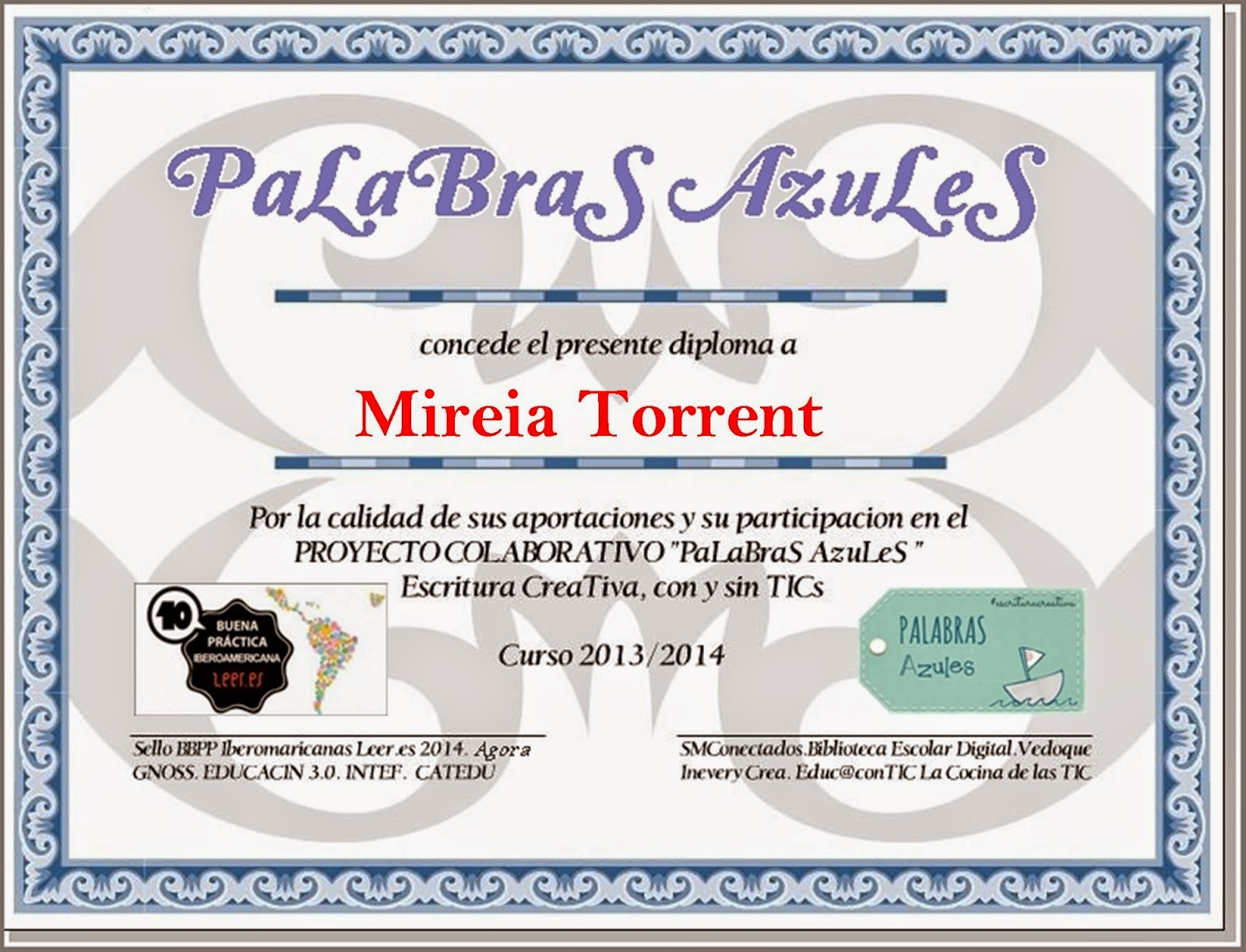 DIPLOMA PALABRAS AZULES