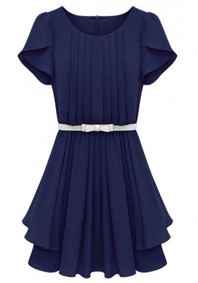 Gorgeous Sapphire Blue Short Sleeve Wrap Chiffon Dress