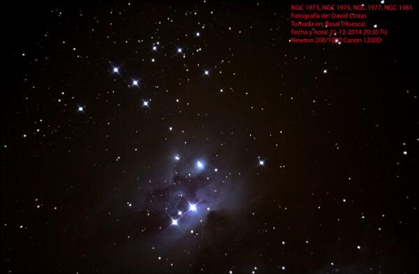 Nebulosa del corredor NGC 1973 / NGC 1975 / NGC 1977 y Cumulo abierto NGC 1981 - El cielo de Rasal