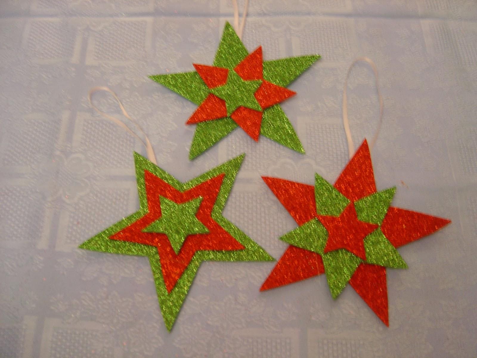 Chitines fieltro y otras manualidades estrellas de navidad - Ideas para decorar estrellas de navidad ...