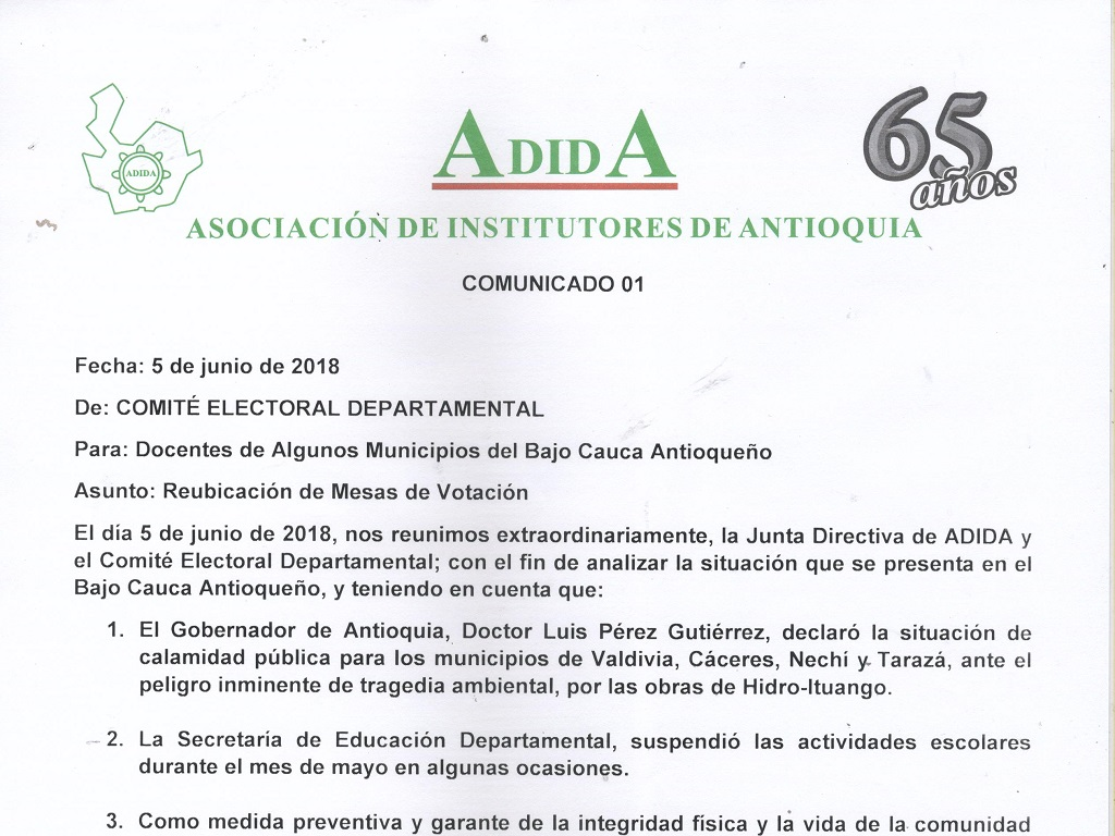 Comunicado 01, 5 de junio 2018: Reubicación de mesas de votación