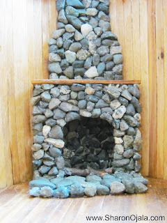 dollhouse fireplace made of stones