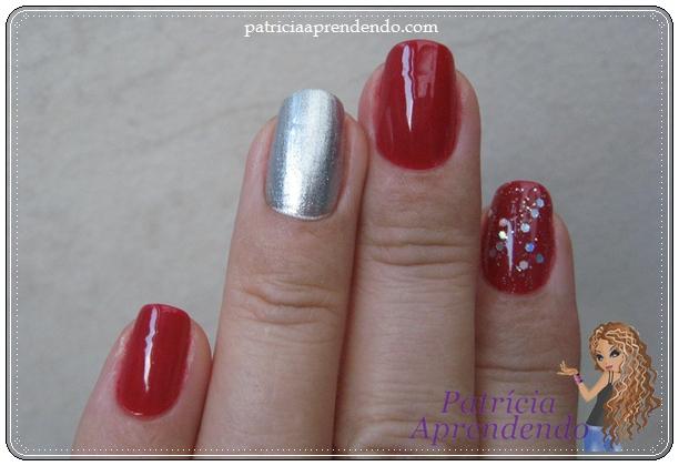 Vermelho combinado com prata e brilhos