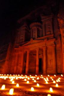 Al Khazneh Treasury Petra at Night Jordan