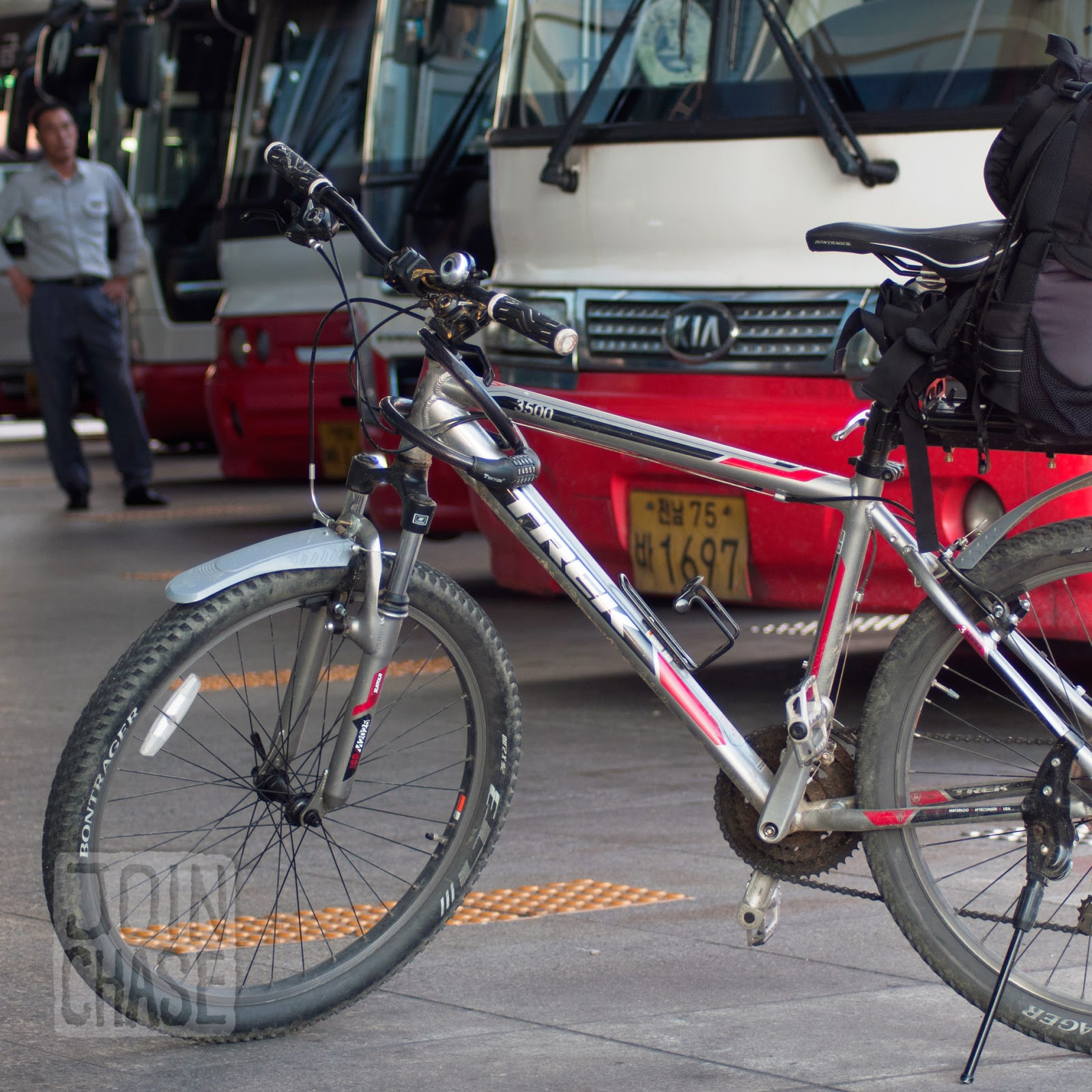 Traveling with a bike using public buses in Gwangju, South Korea.