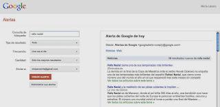 Muestra de monitorización de Google Alerts