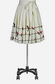 Birds eye view poplin skirt