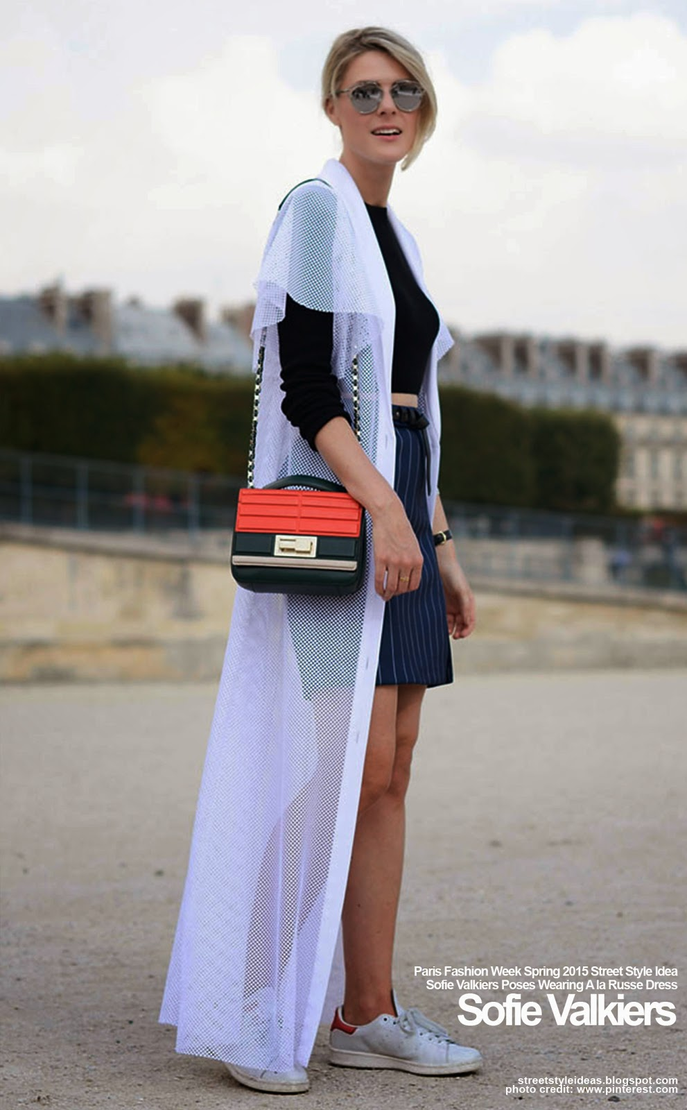 Paris Fashion Week Spring 2015 Street Style Idea Sofie Valkiers Poses Wearing A La Russe Dress