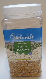 plastic jar of popcorn kernels