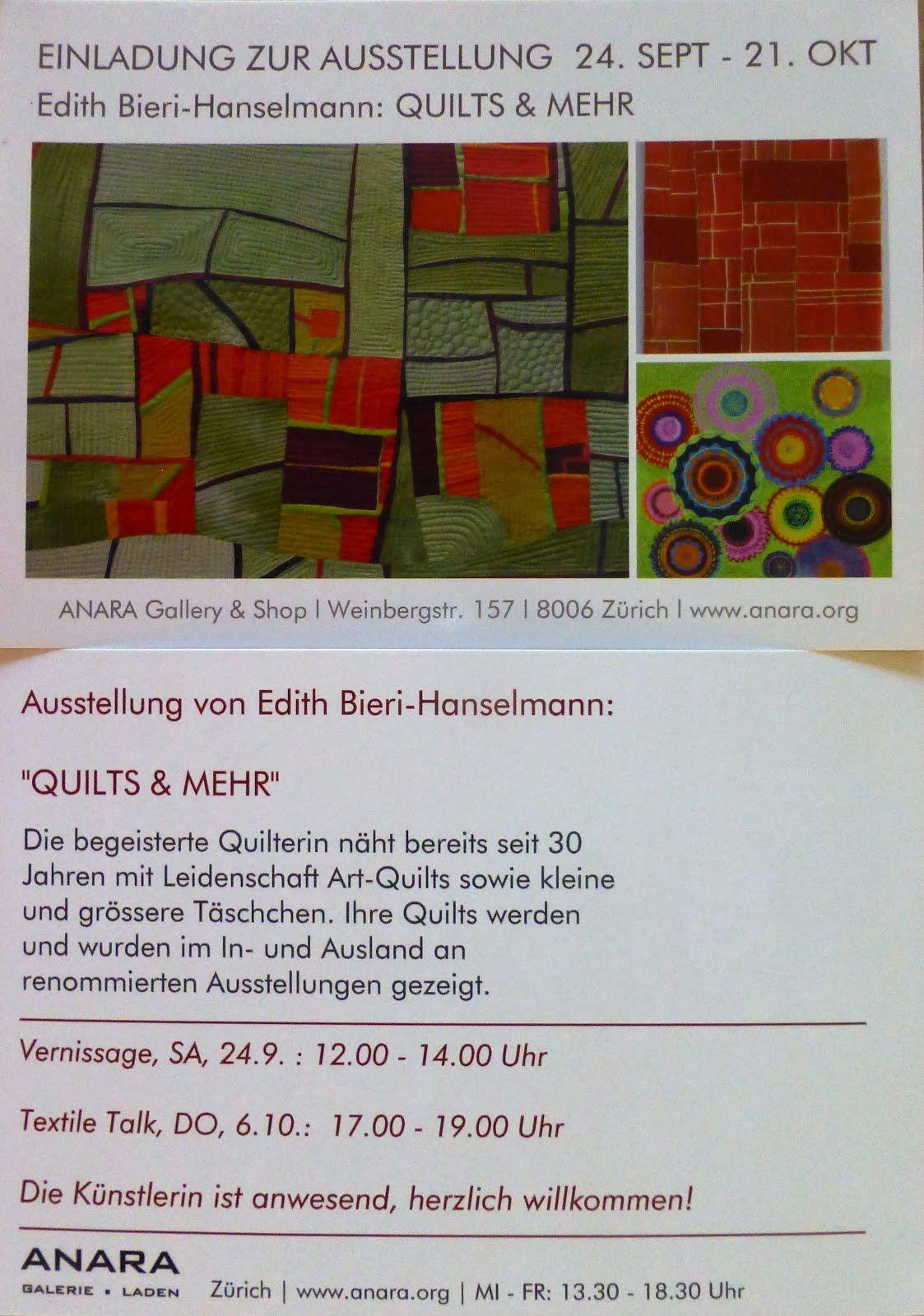 Ausstellung bei anara in Zürich