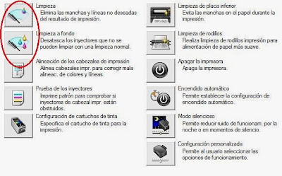 opciones de limpieza para cartuchos de tinta en Canon PIXMA MP230