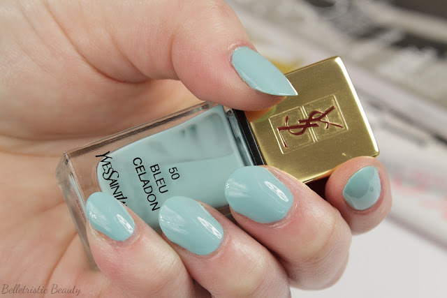 Yves Saint Laurent Bleu Celadon #50 La Laque Couture nail polish lacquer swatches, Bleu Lumiere Collection, Summer 2014, in studio lighting