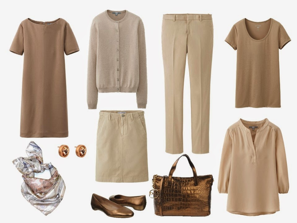a 10 piece beige and tan travel capsule wardrobe for getting stress dressed