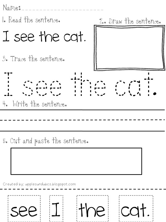 First Grade Sentence Writing Worksheet