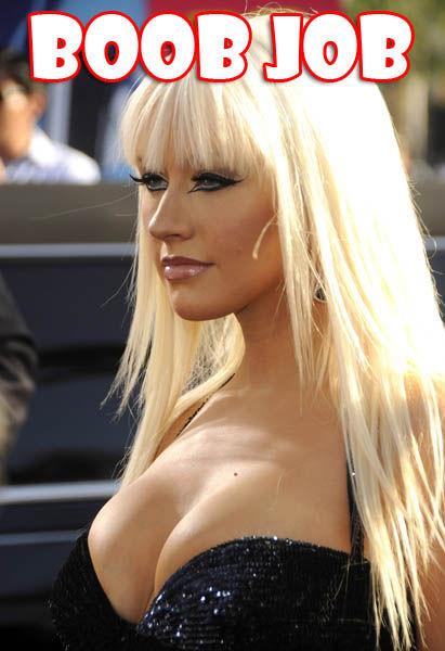 Aguilera boob christina fake