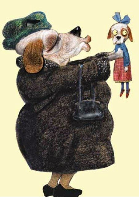 grandma's dog kiss illustration by German ilustrator and author Wolf Erlbruch