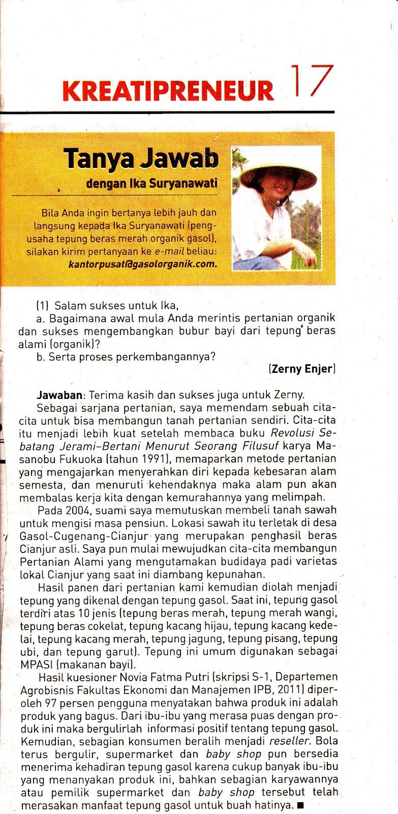 Gasol Pertanian Organik Republika 2 Mei 2012 Tanya Jawab Tepung Beras Merah