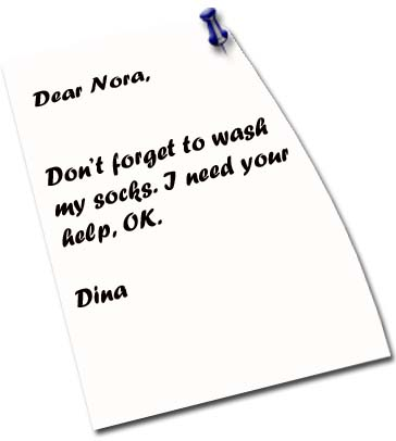 Short Message, Dear Nora, Dont Forget to Wash My Shock