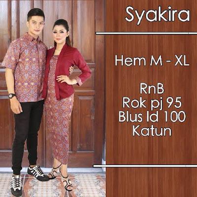 Baju Batik Pasangan (Sarimbit) Syakira Merah Tua