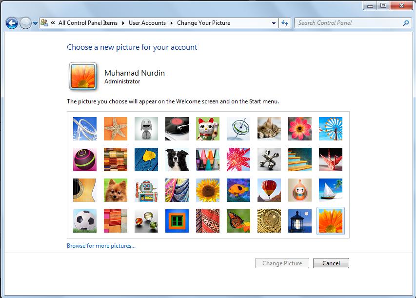 Cara Mengganti Picture Account Pada Windows 7