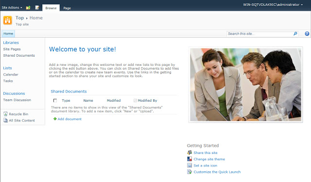 SharePoint 2010 Foundation Team Site OTB
