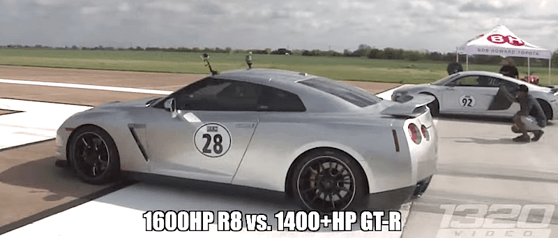 1600馬力のアウディR8が日産GT-Rやランボルギーニと対決!